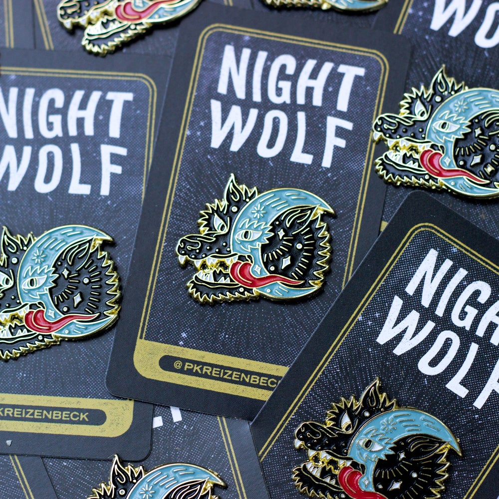 Image of Night Wolf Enamel Pin (Black)