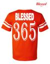 Blessed 365 Striped Sleeve V-Neck - Orange/White