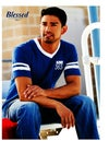 Blessed 365 Striped Sleeve V-Neck - Royal Blue/White