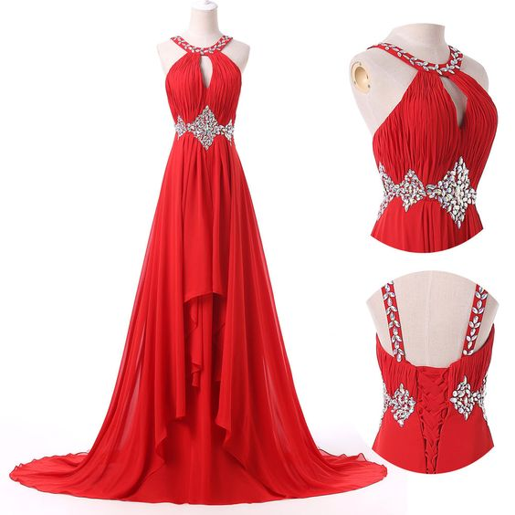Charming Red Handmade Chiffon Halter Prom Dresses, Red Prom Gowns, Prom Dresses