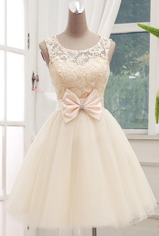 Lovely Champagne Lace Tulle Homecoming Dresses 2016, Short Prom Dresses, Lovely Homecoming Dresses