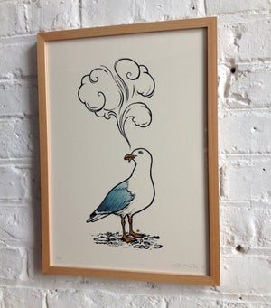 Image of Smoking Seagull linocut print