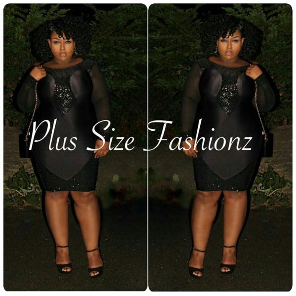 Black Sequence Dress - Plus Size Fashionz