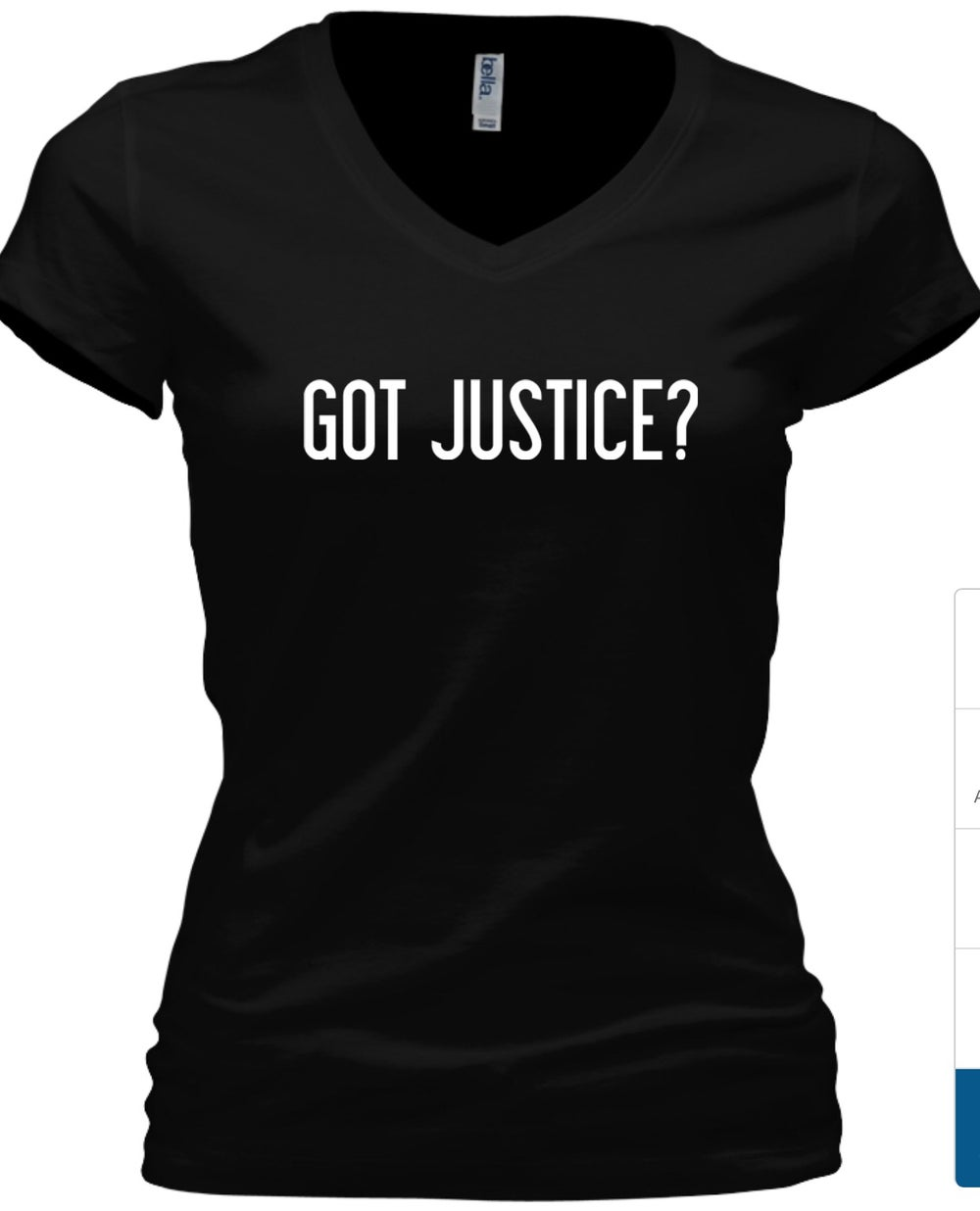 Image of WOMEN'S GOT JUSTICE? V-NECK T-SHIRT (Tshirt will reflect Jeremiah 22:3)