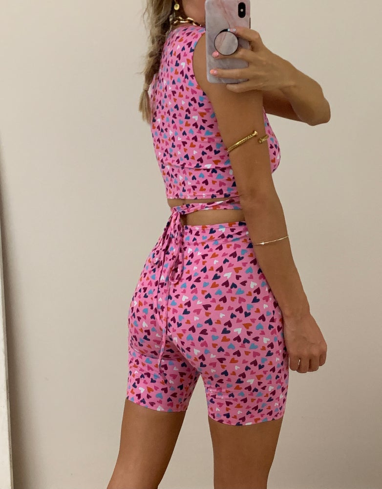 Image of Pink Hearts Tank & Strappy Waist Shorts