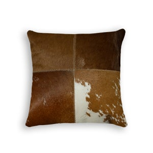 Image of 676685000101 Natural - Cowhide Pillow 18x18 Tricolore