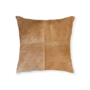 Image of 676685004314 Natural -Cowhide Pillow 18x18 Tan