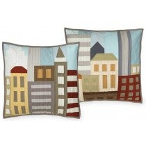 "Image of Tiny Town Throw Pillow Cover Quilt Patterns - 18"" x 18"""