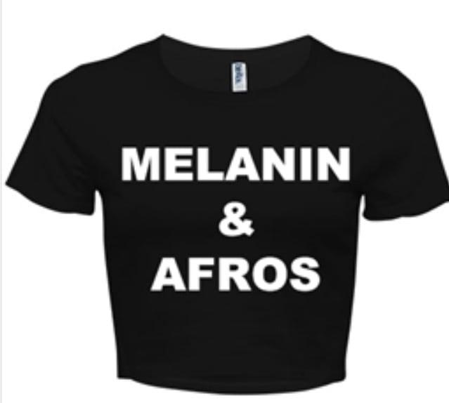 Image of MELANIN & AFROS BLACK/WHITE CROP TOP