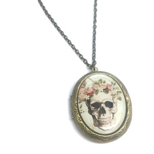 Image of  Sugar Skull With Flowered Headband Green Cameo Locket Necklace