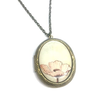 Image of  Pink Poppy Locket Necklace