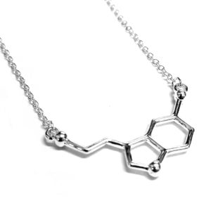 Image of  Serotonin Molecule Necklace, Well Being Happiness, Dna Science Geek Sml