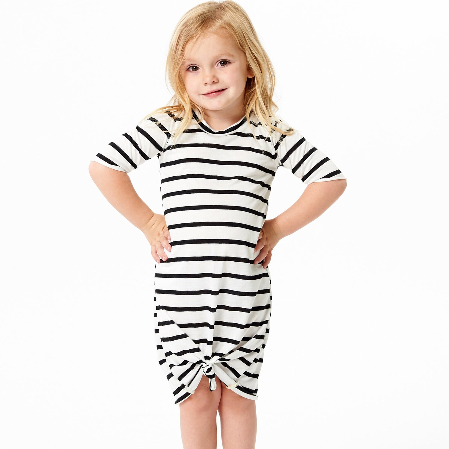 Image of Baby/girls white pinstriped knot knit dress
