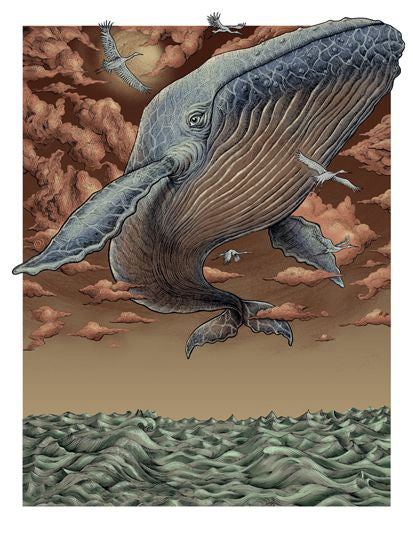 Image of Flying Whale Art Print by Emek