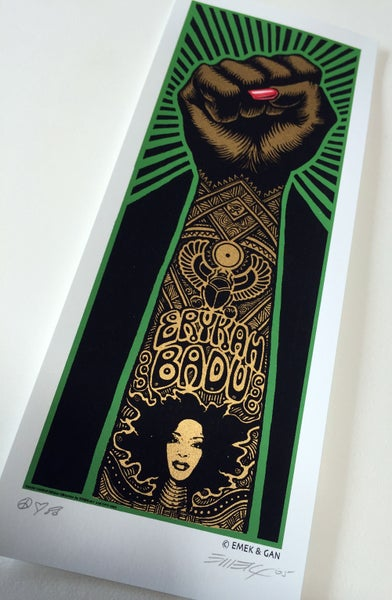 Image of Handbill Erykah Badu Fist - Green by Emek