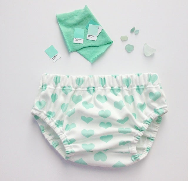 Image of ORGANIC COTTON MINT SIGNATURE HEART BLOOMER