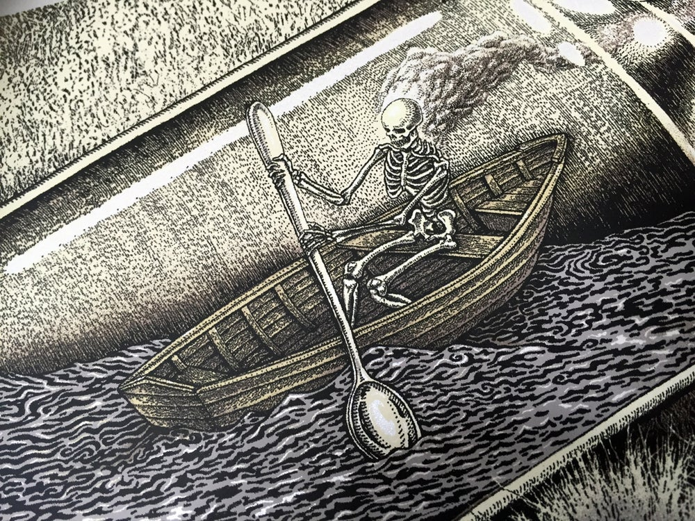 Image of Handbill Skeleton in a Bottle by Emek