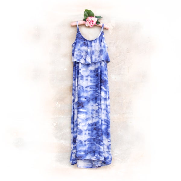 Image of 'Blue Skies' Breastfeeding Maxi Dress