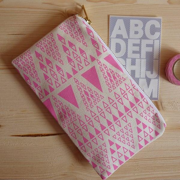 Image of Zig Zag Dot pencil case - rose pink