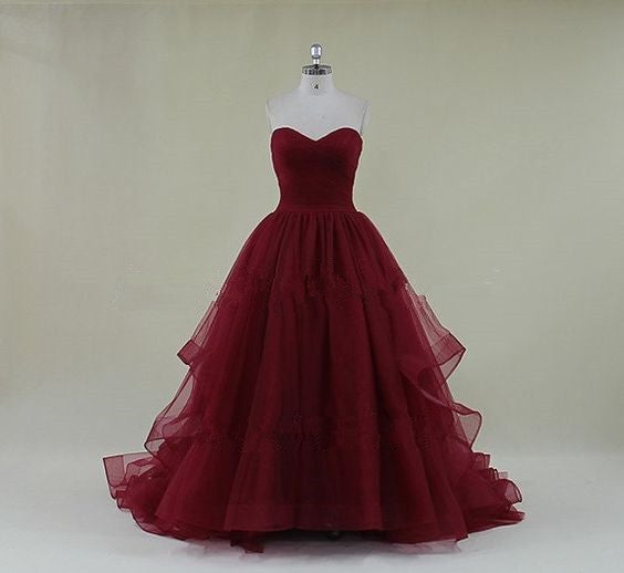 Gorgeous Tulle Burgundy Ball Gown Long Prom Dresses, Evening Gowns, Party Gowns