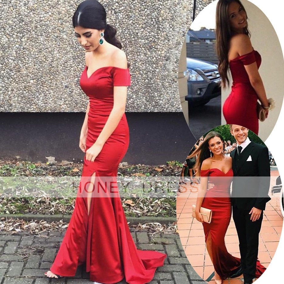 Image of Red Satin Sweetheart Mermaid Slit Prom Dress With Off The Shoulder