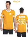Blessed 365 Striped Sleeve V-Neck - Gold/White