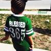 Blessed 365 Striped Sleeve V-Neck - Dark Green/White