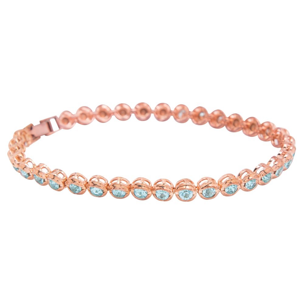 Image of Rose Gold & Aquamarine Tennis Bracelet