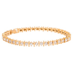 Image of Yellow Gold Bar Tennis Bracelet