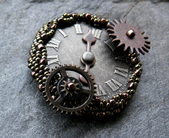 Image of Roman Time in Bronze, handmade brooch