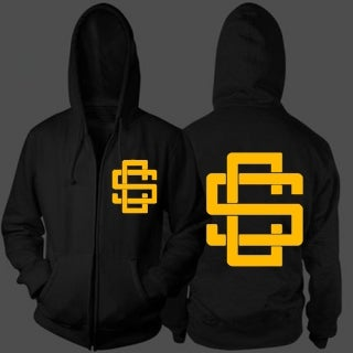 Image of SinCity Monogram Zip Up Hoodie (Blk&Gold)