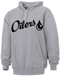 Grey Oilers Pull Over Hoodie