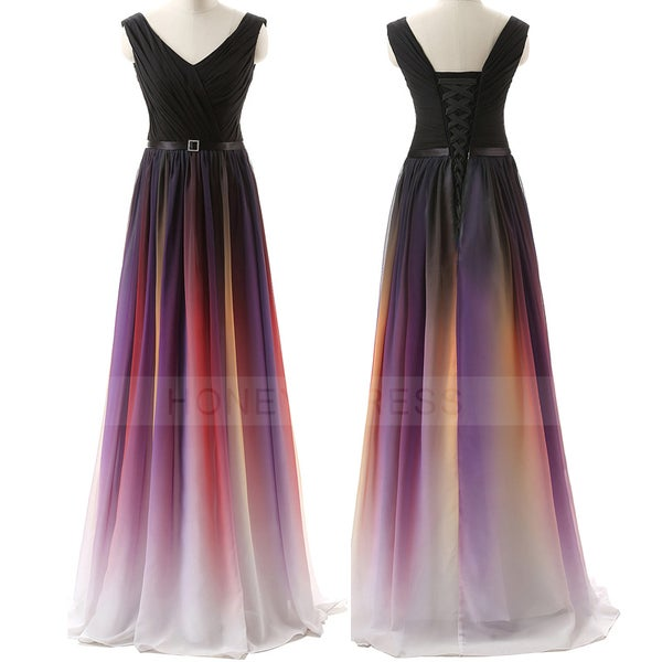 Image of Gradient Color Chiffon V Neck A Line Floor Length Prom Dress With Back Lace Up