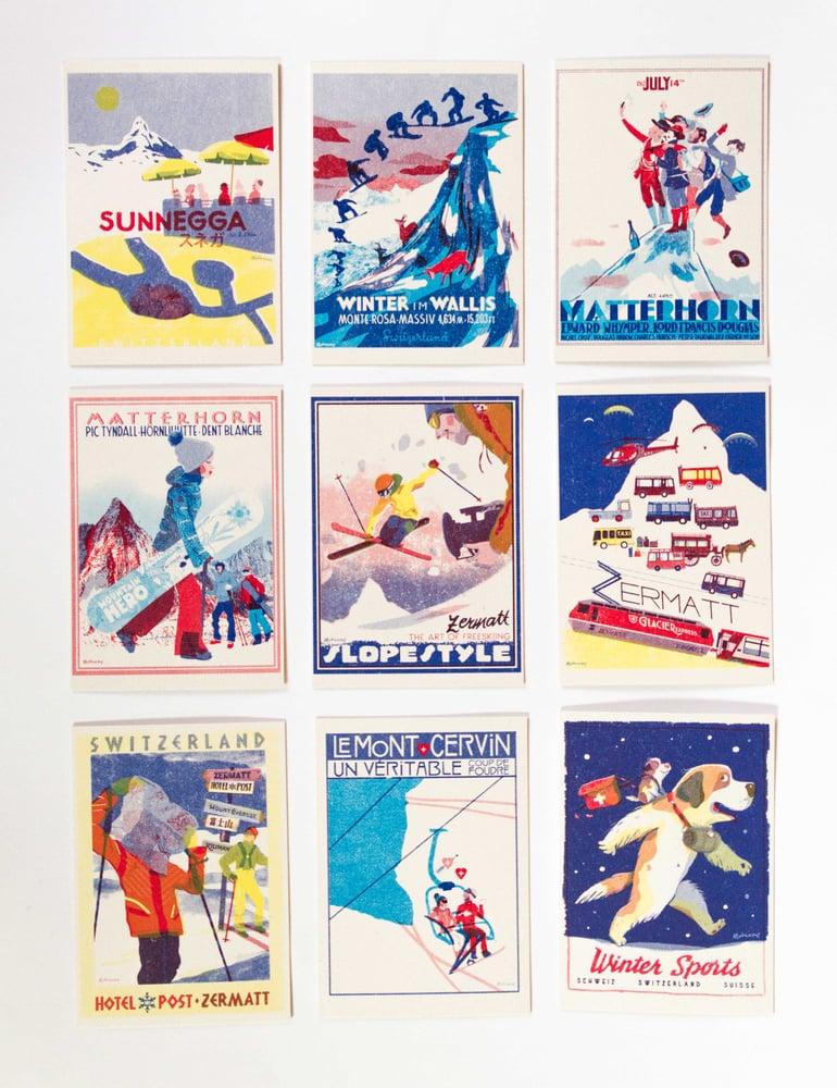 Image of 9 Postcards Set