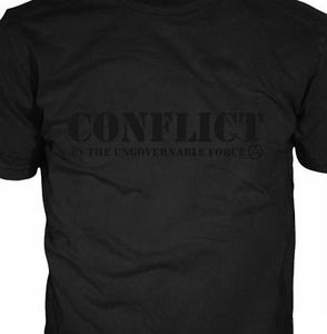 Image of Conflict Ungovernable Force Black on Black Shirt