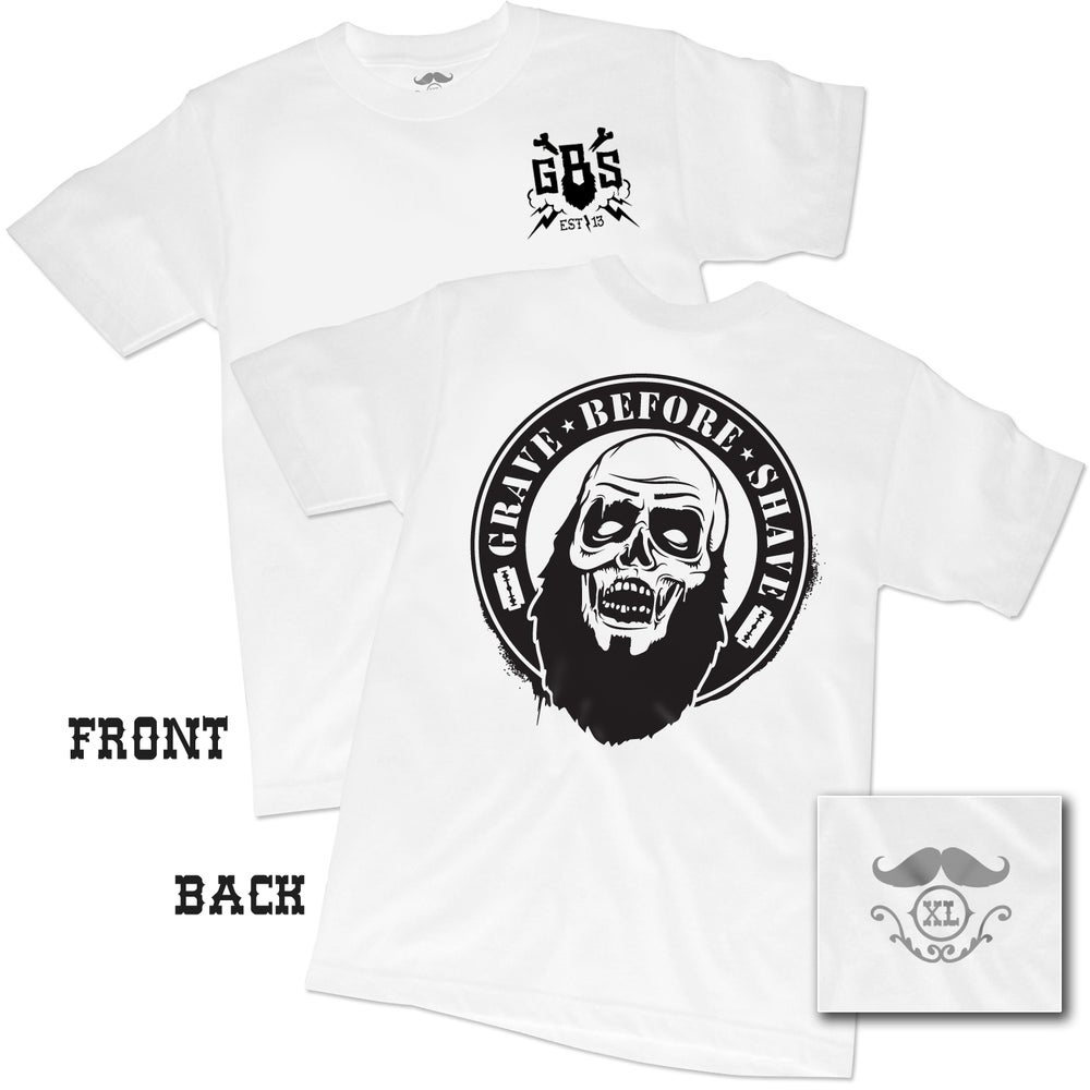 "Image of GRAVE BEFORE SHAVE™ ""WHITE"" Zombie Beard Tee"
