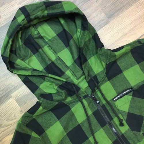 """Image of """"Common Crooks"""" Men's Hooded Fishtail Zip Flannel"""