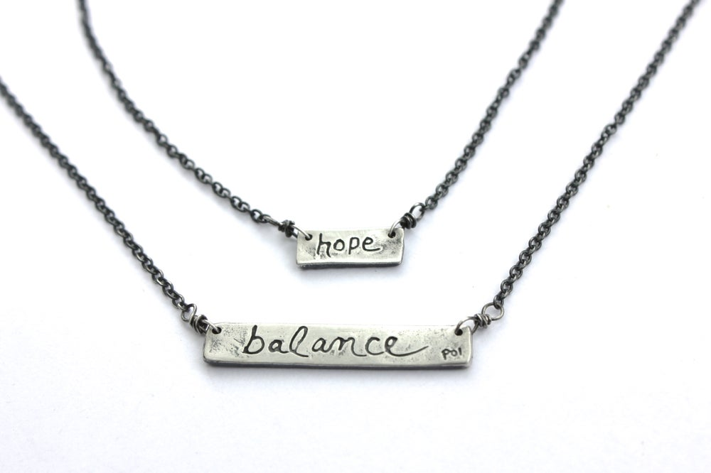 Image of sterling silver bar necklace . balance talisman