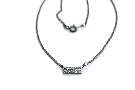 Image of sterling silver bar necklace . hope talisman
