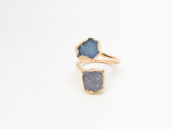Image of 24k Gold Plated Druzy Midi Rings (Multi/Blue)
