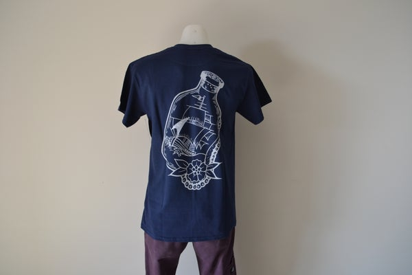 Image of Sykotic X Jimmy B Bottled Ship Tee (Navy)
