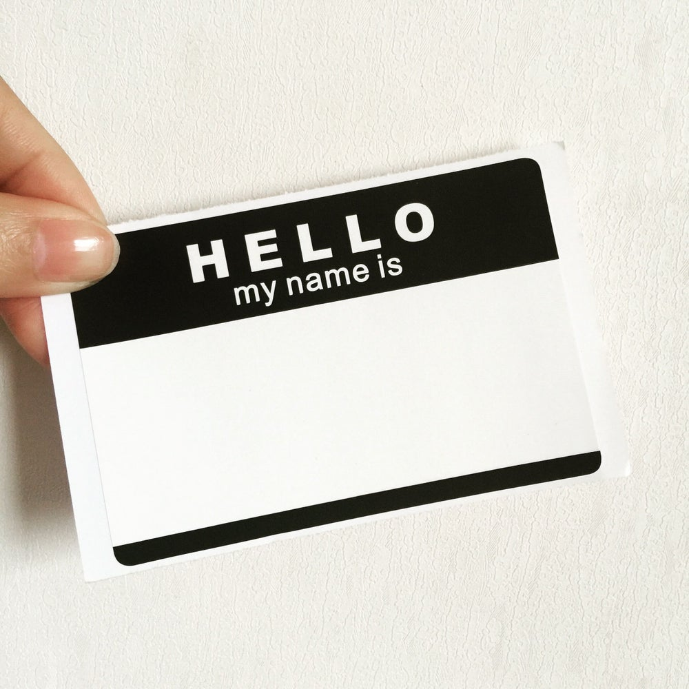 "Image of ""Hello,My Name Is"" Blank Eggshell Sticker"