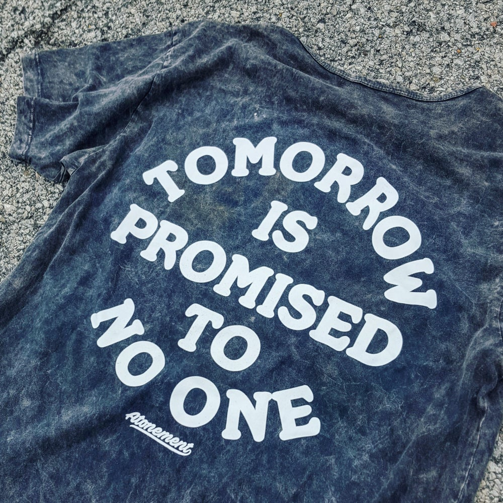 "Image of The ""Tomorrow Is Promised To No One"" Scallop Tee in Black Mineral Wash"