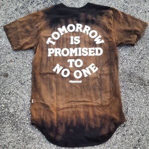 "Image of The ""Tomorrow Is Promised To No One"" Scallop Tee in Black Tye Dye"