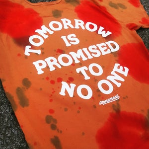"""Image of The """"Tomorrow Is Promised To No One"""" Scallop Tee in Rust Red/Orange"""