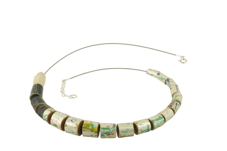 Image of 'upcycled' long paintbrush necklace