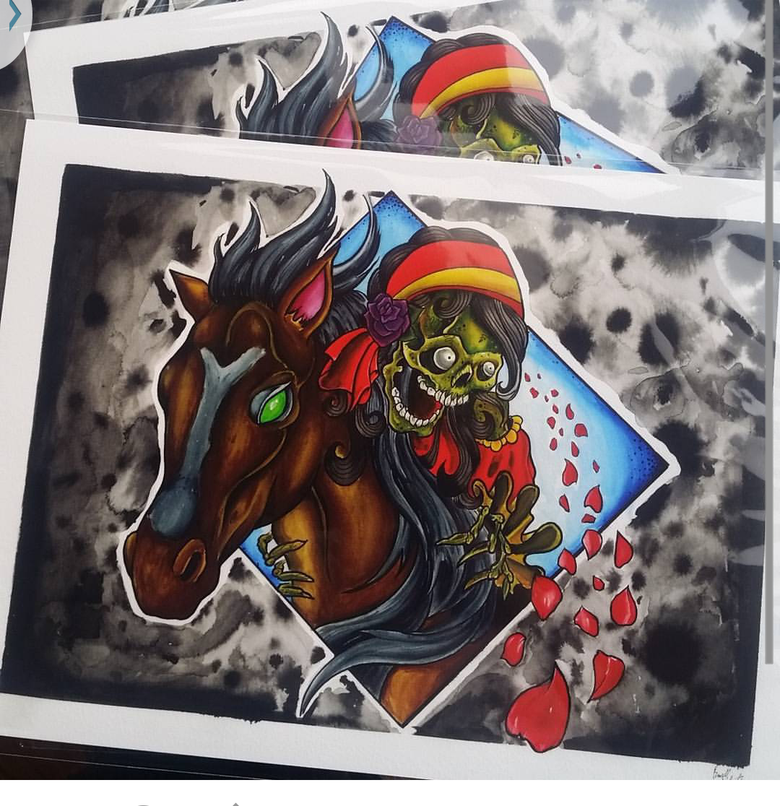"""Image of """"Gypsy Skeleton on Horse"""" print By:Russell White III"""