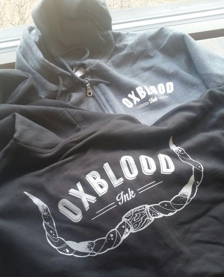Image of Oxblood horns logo zip up hoodie