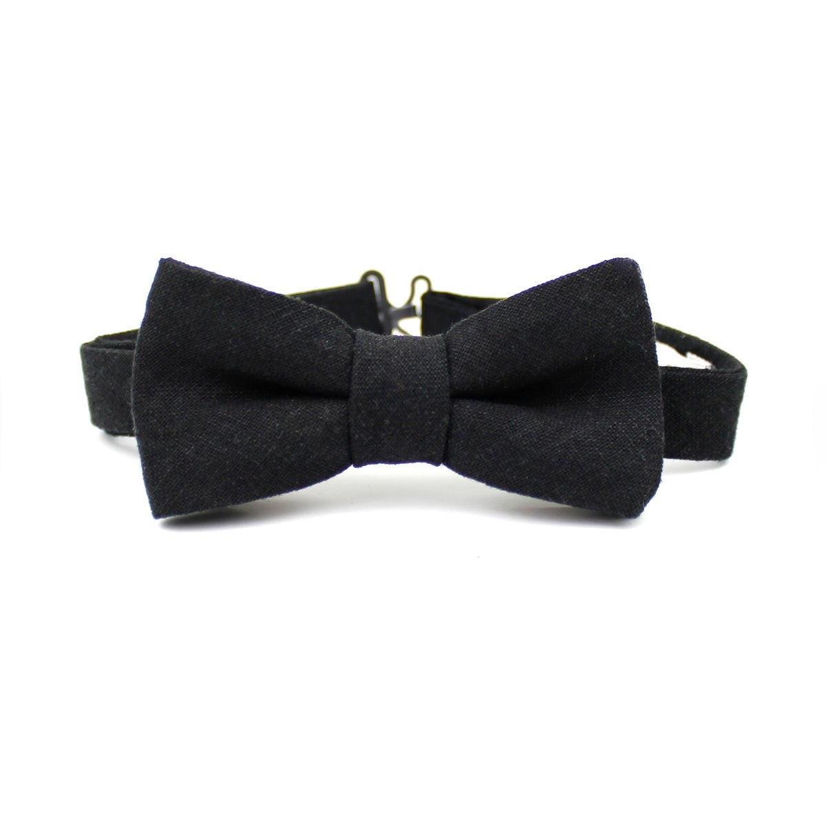 Image of Black Linen Kids Bow Tie
