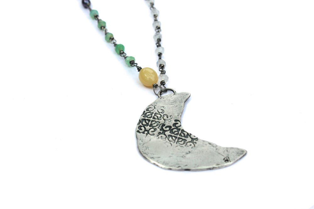 Image of crescent moon talisman gemstone necklace